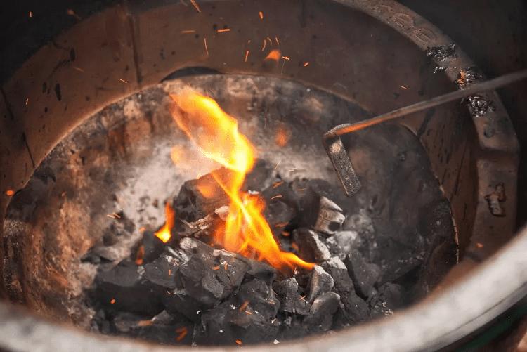 Fire In Kamado Grill