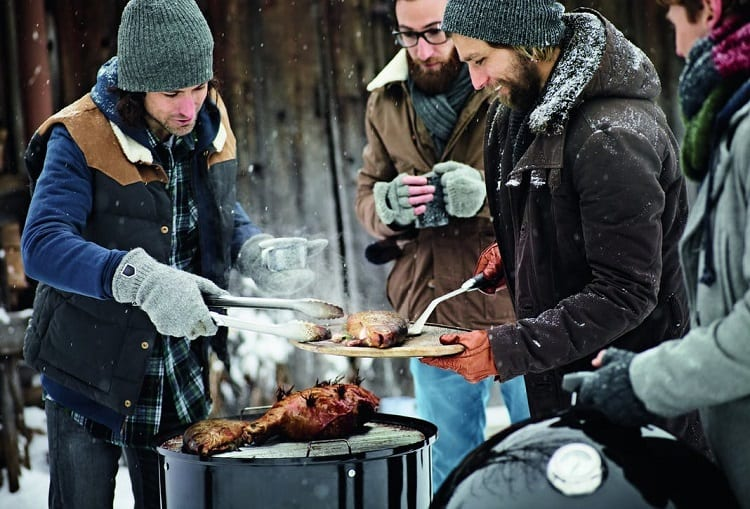 Group Of People Grilling In Winter