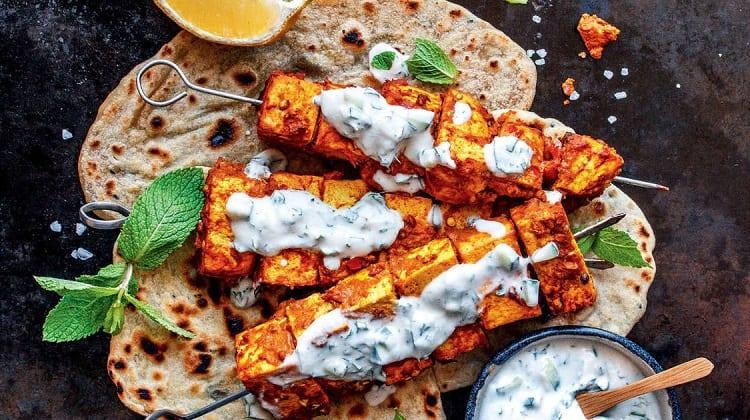 Tandoori Tofu Skewers With Mint, Cucumber And Yogurt Sauce